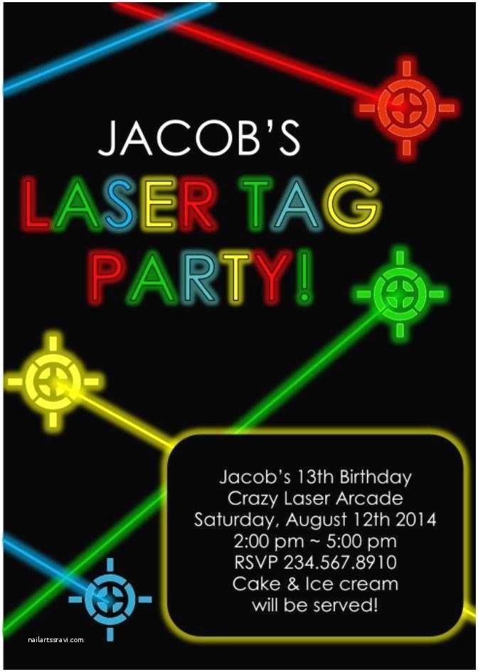 Laser Tag Party Invitations Laser Tag Party Invitation Editable — Partygamesplus