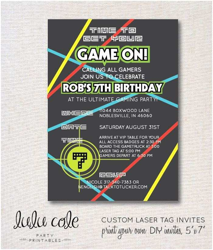 Laser Tag Party Invitations Laser Tag Party Invitation Glow Party
