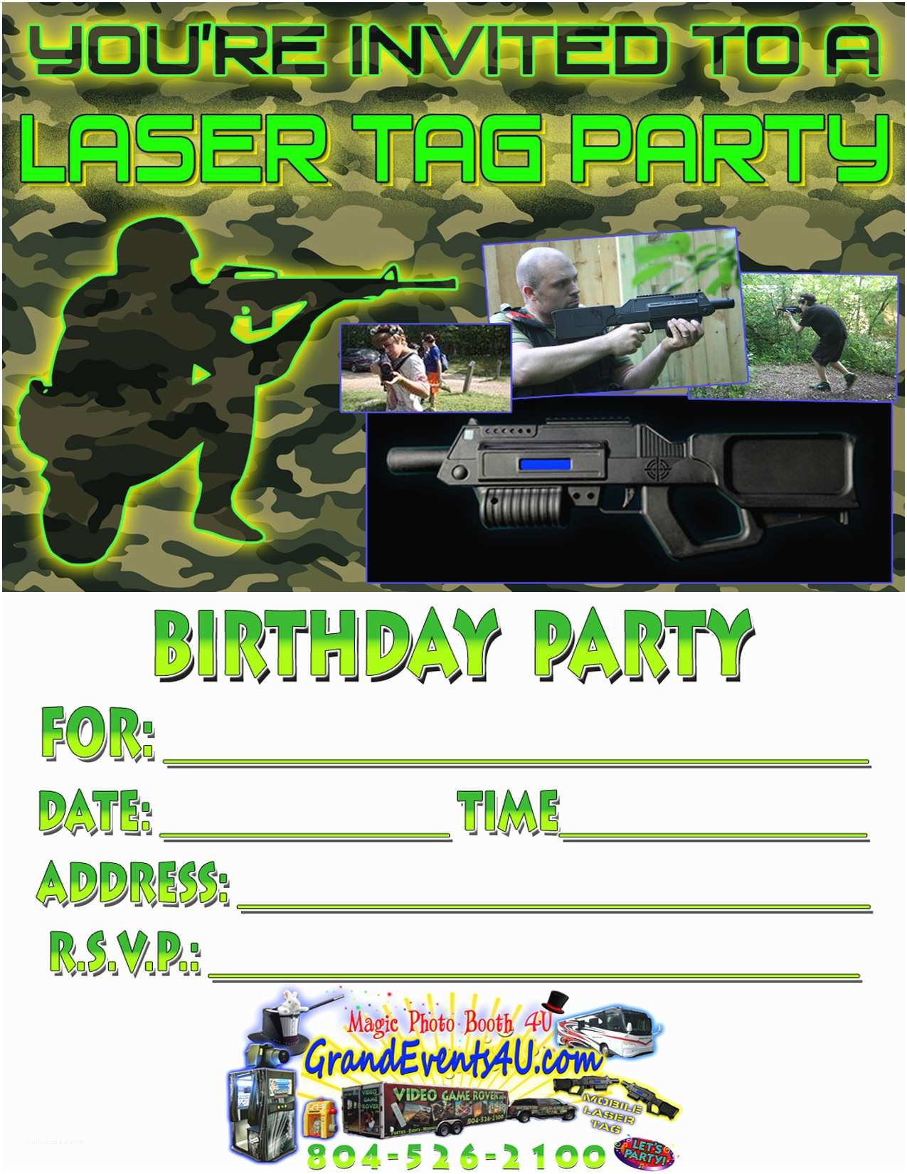 Laser Tag Party Invitations Laser Tag Party Invitations