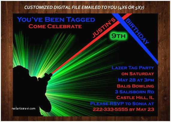 Laser Tag Party Invitations Laser Tag themed Birthday Party Invitation Laser Tag Custom