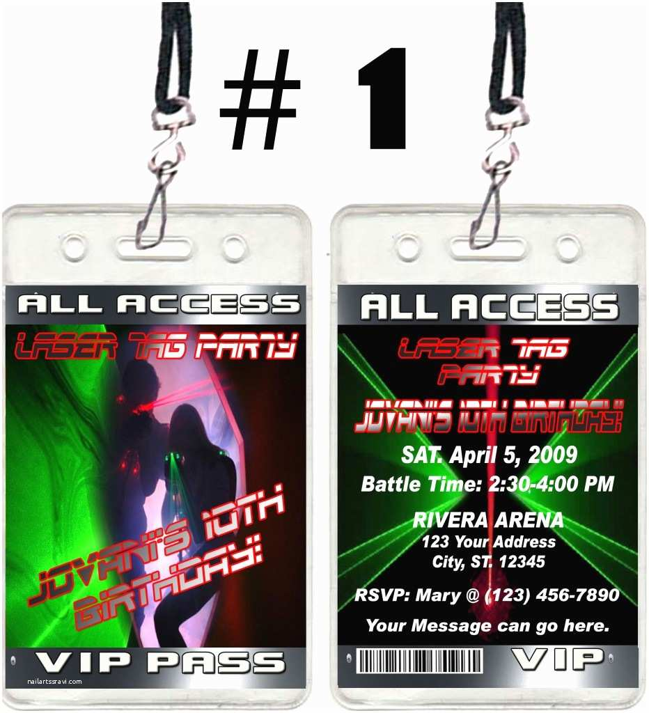 Laser Tag Party Invitations Laser Tag Ticket Vip Birthday Party Invitations and Favors
