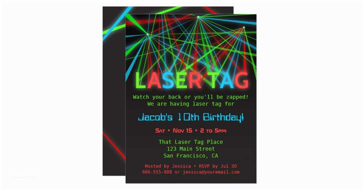 Laser Tag Party Invitations Neon Words Laser Tag Birthday Party Invitations