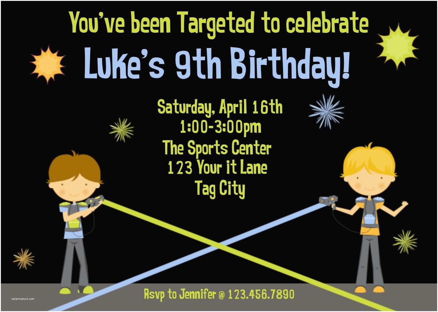 Laser Tag Party Invitations Printable Birthday Invitations