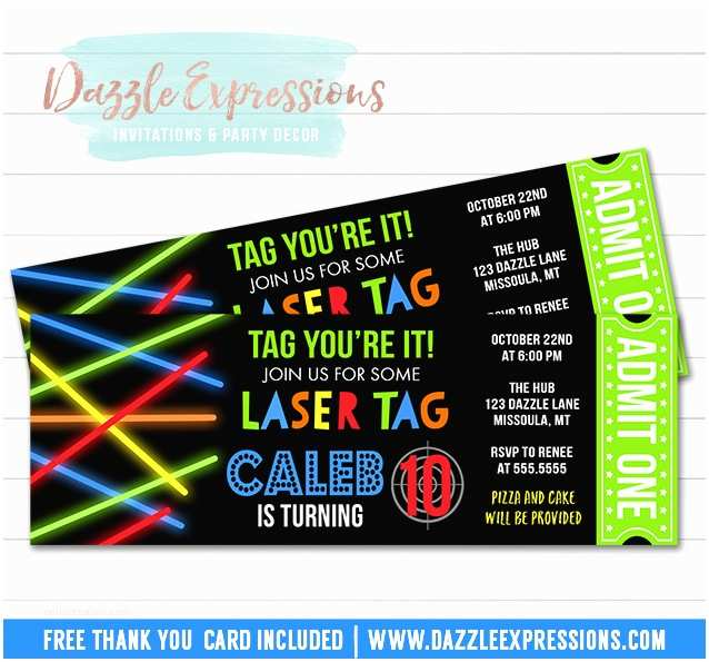 Laser Tag Party Invitations Printable Glow Laser Tag Ticket Birthday Invitation Kids