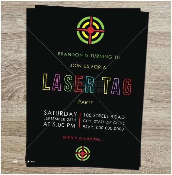 Laser Tag Party Invitations Printable Laser Tag Birthday Party Invitation Boys