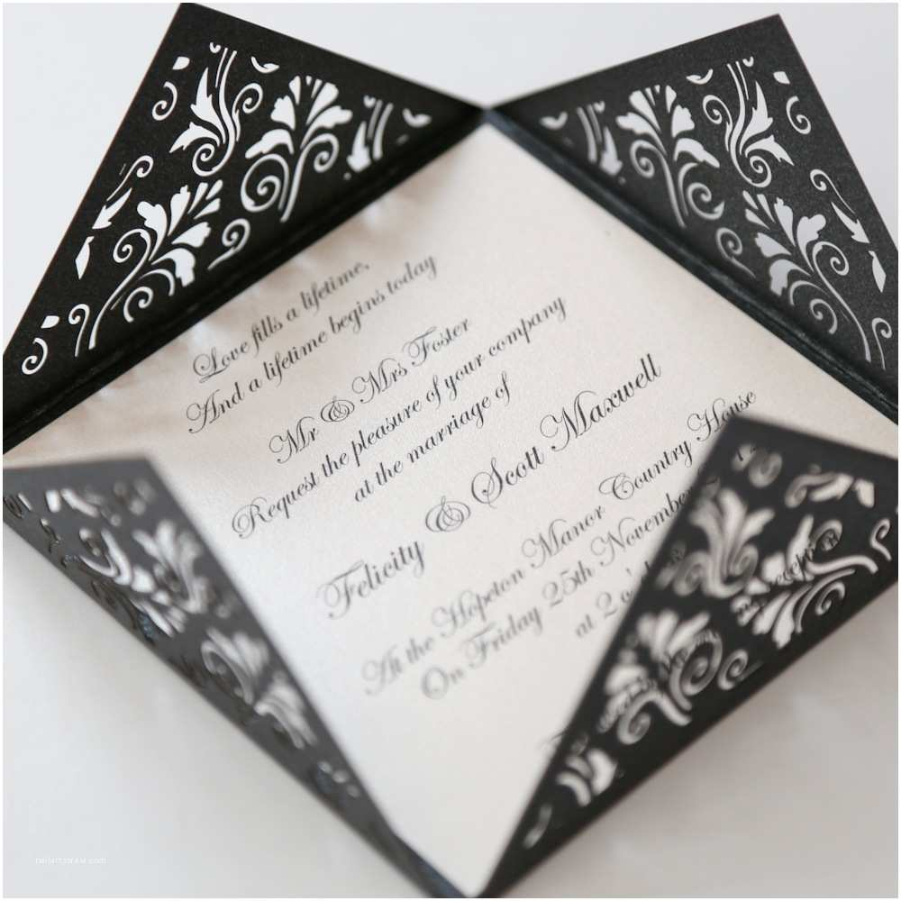Laser Wedding Invitations Black Filigree Square Laser Cut Wedding Invitation