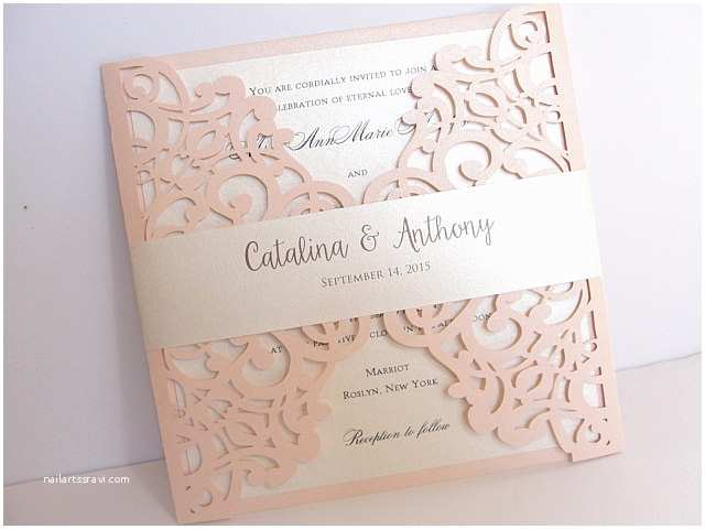 Laser Wedding Invitations Blush Pink Laser Cut Wedding Invitation