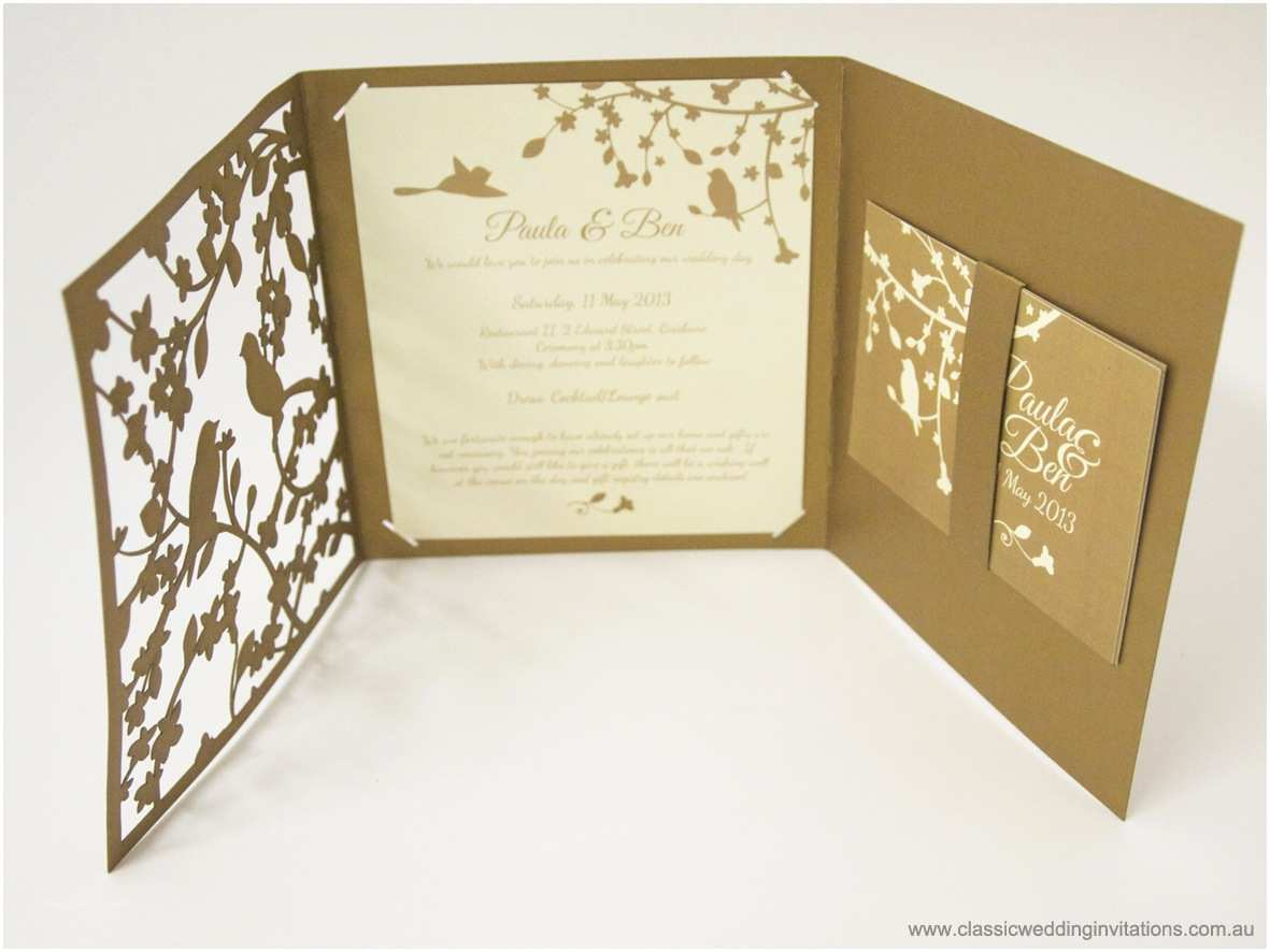 Laser Wedding Invitations Classic Wedding Invitations Garden forest Trifold