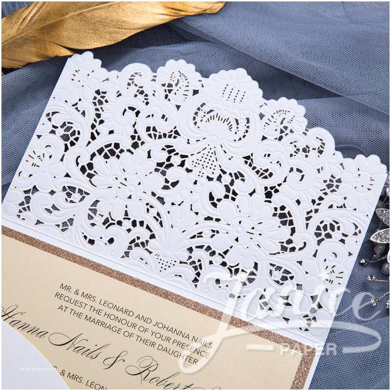 Laser Wedding Invitations Graceful Pearl White Laser Cut Pocket wholesale Wedding