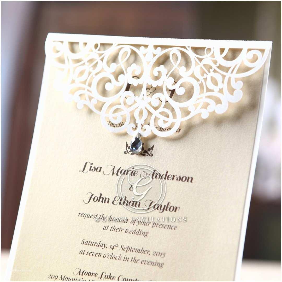 Laser Wedding Invitations Jeweled Laser Cut Modern Wedding Invitations