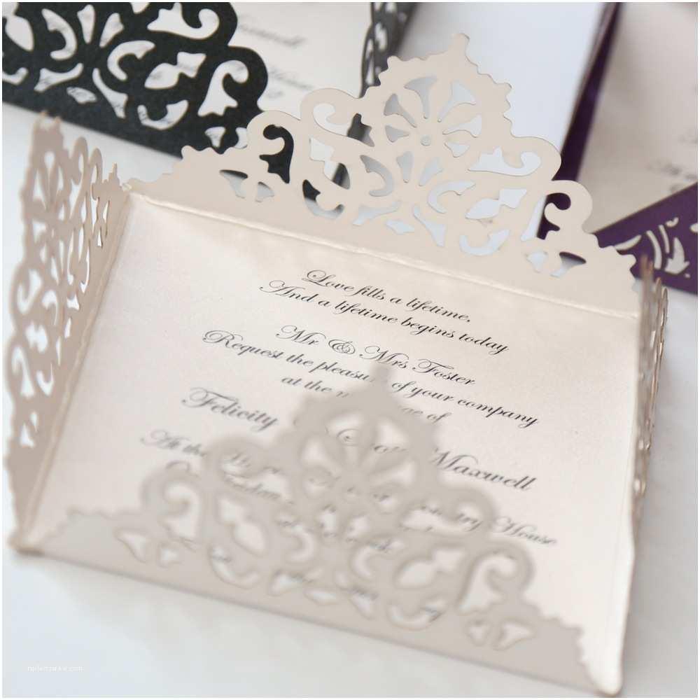 Laser Wedding Invitations Lace Edged Ivory Square Laser Cut Wedding Invitation