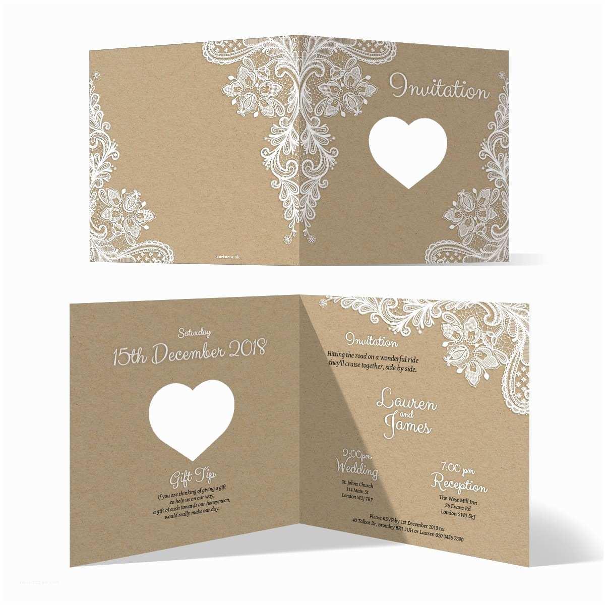 Laser Wedding Invitations Laser Cut Wedding Invitation Cards Rustic Kraft Paper Look