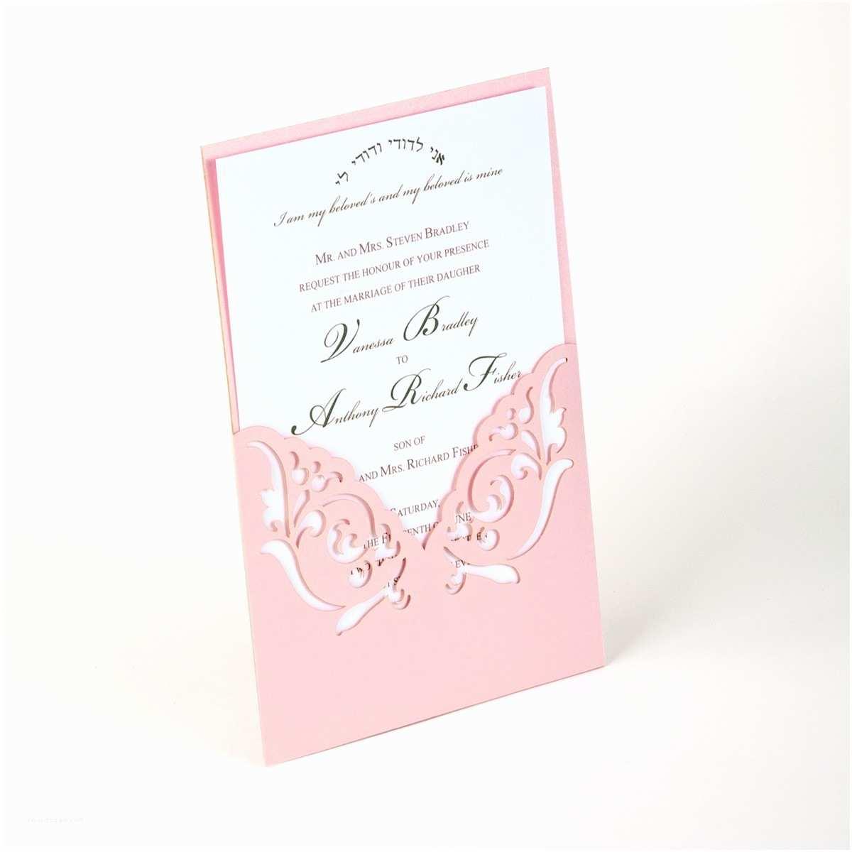 Laser Wedding Invitations Pocket Elegant Wedding Invitation Laser Cut Invitations