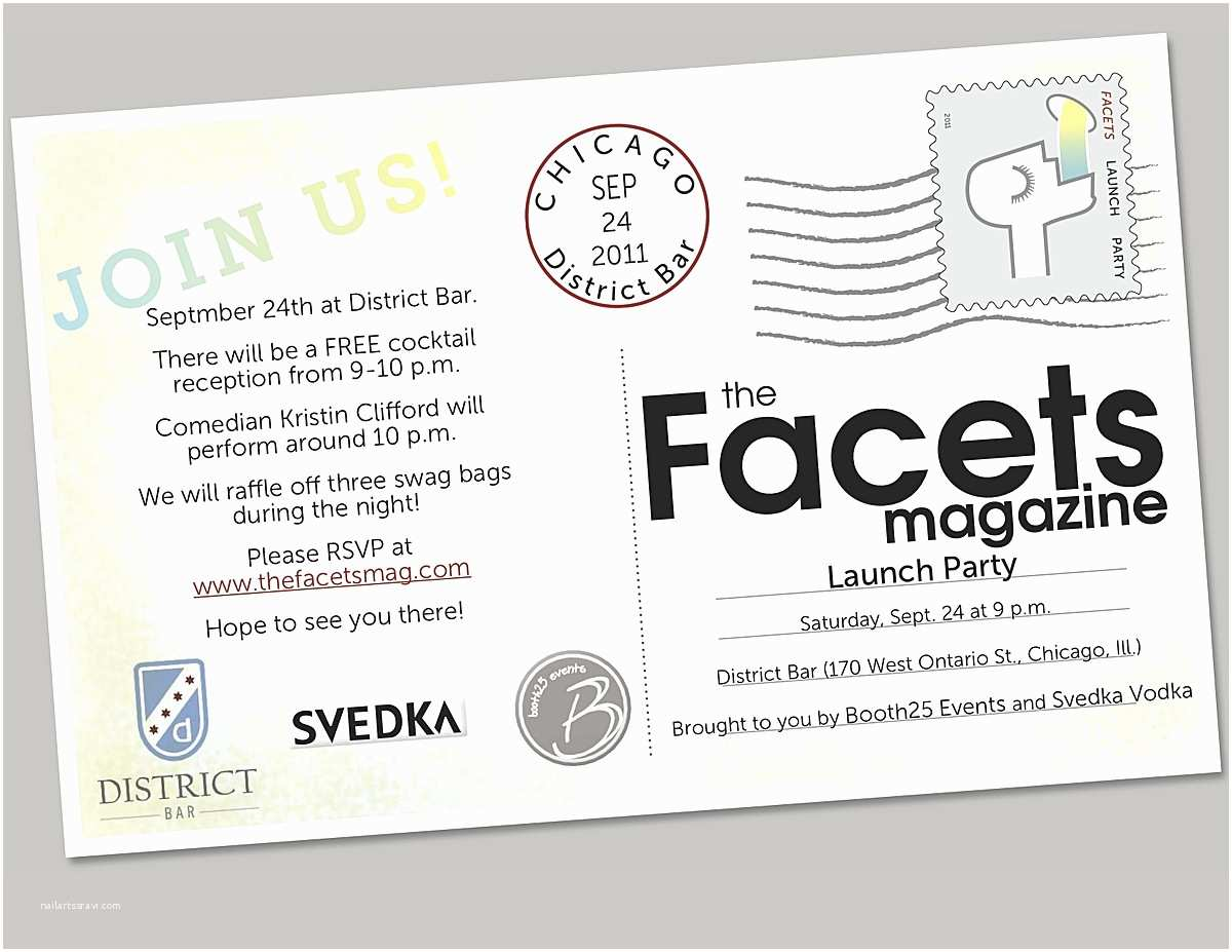 Launch Party Invitation the Facets Magazine Melissa B Griffin