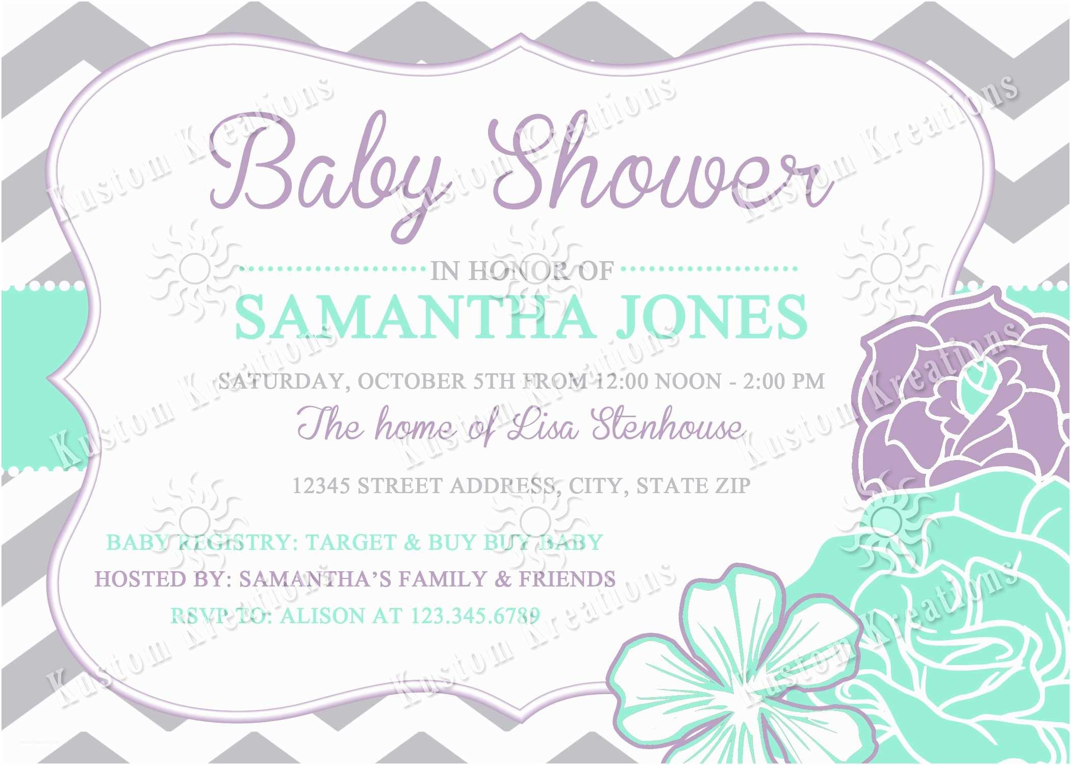 Lavender Baby Shower Invitations Chevron Flowers Baby Shower Invitations