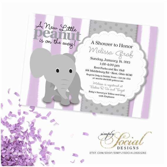 Lavender Baby Shower Invitations Elephant Baby Shower Invitation Lilac Purple Lavender Stripe