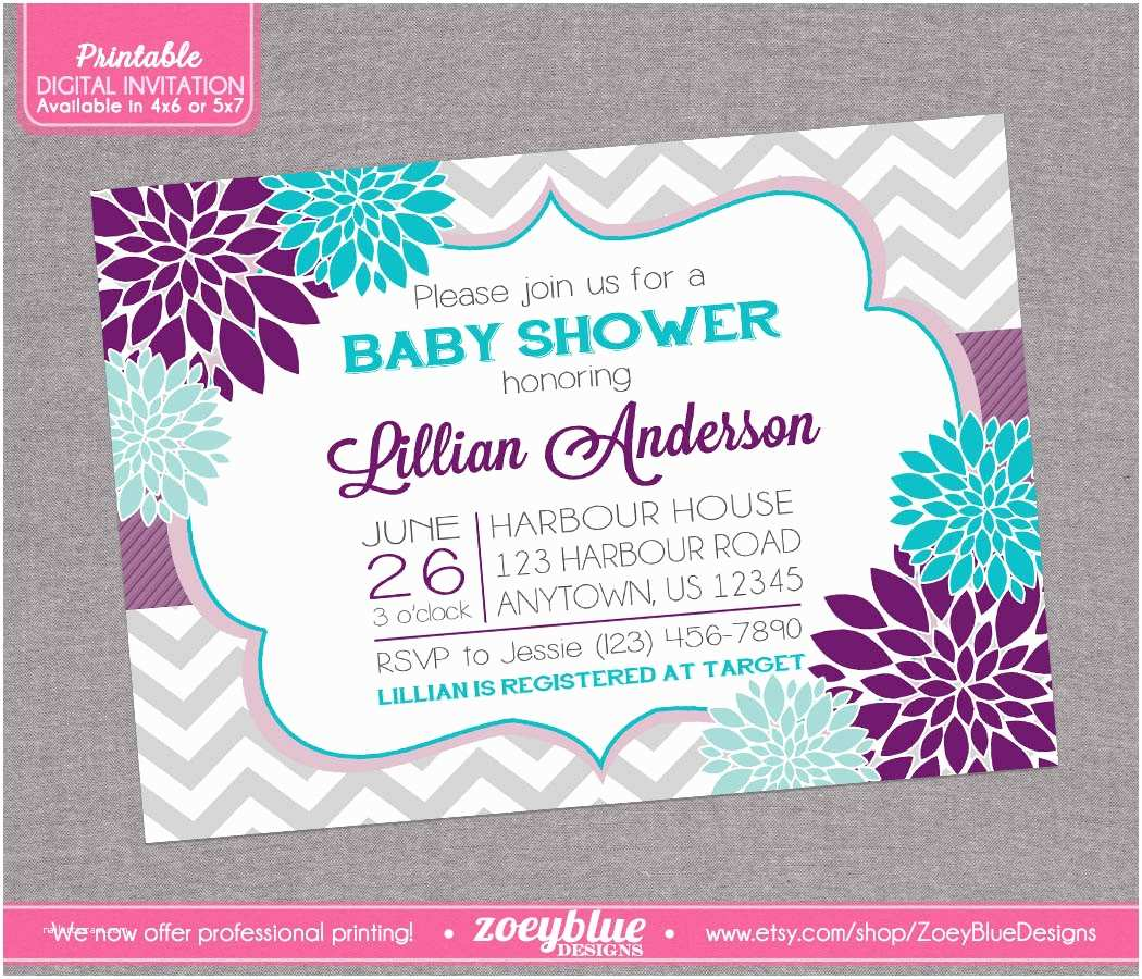 Lavender Baby Shower Invitations Floral Purple Aqua Blue Baby Shower Invitation by