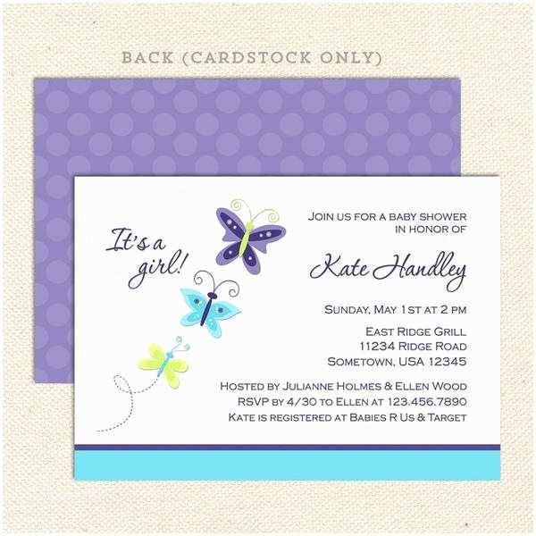Lavender Baby Shower Invitations Lavender butterfly Girl Baby Shower Invitation – Lil