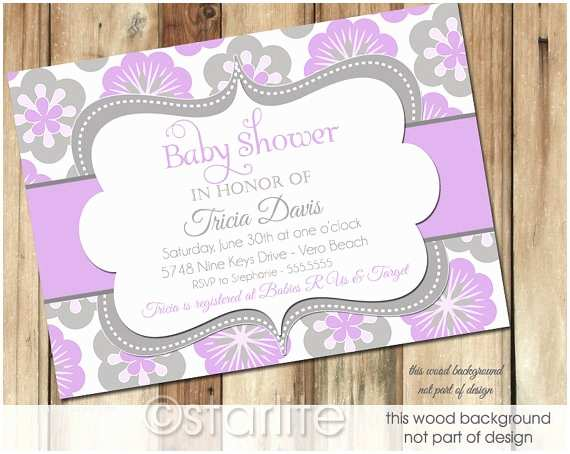 Lavender Baby Shower Invitations Lavender Gray Baby Shower Invitation Baby Girl by Starwedd