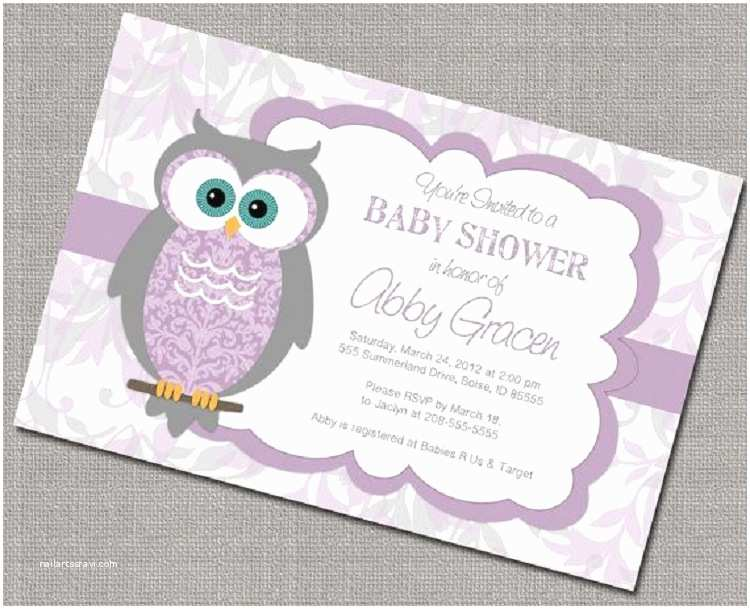 Lavender Baby Shower Invitations Light Purple Owl Baby Shower Invitations – Baby Shower Ideas