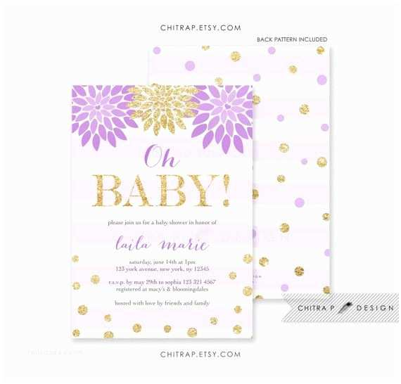 Lavender Baby Shower Invitations Oh Baby Shower Invitation Printed Purple Lavender Gold
