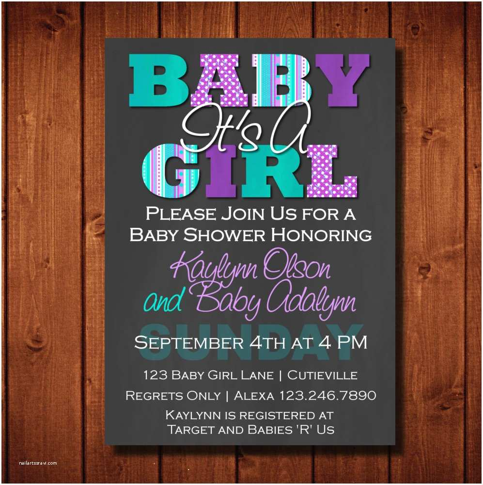 Lavender Baby Shower Invitations Purple and Teal Baby Shower Invitation Various