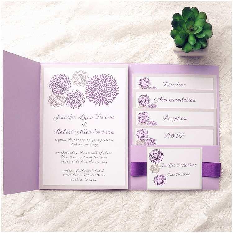 Lavender  Invitations Affordable Lavender Pocket Dandelion Ribbon
