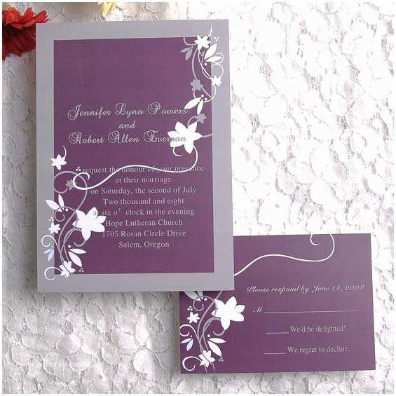Lavender Wedding Invitations Cheap Rustic Floral Plum Wedding Invitations Ewi001 As