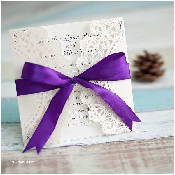 Lavender Wedding Invitations Fall Purple Laser Cut Wedding Invitations Ewws045 as Low