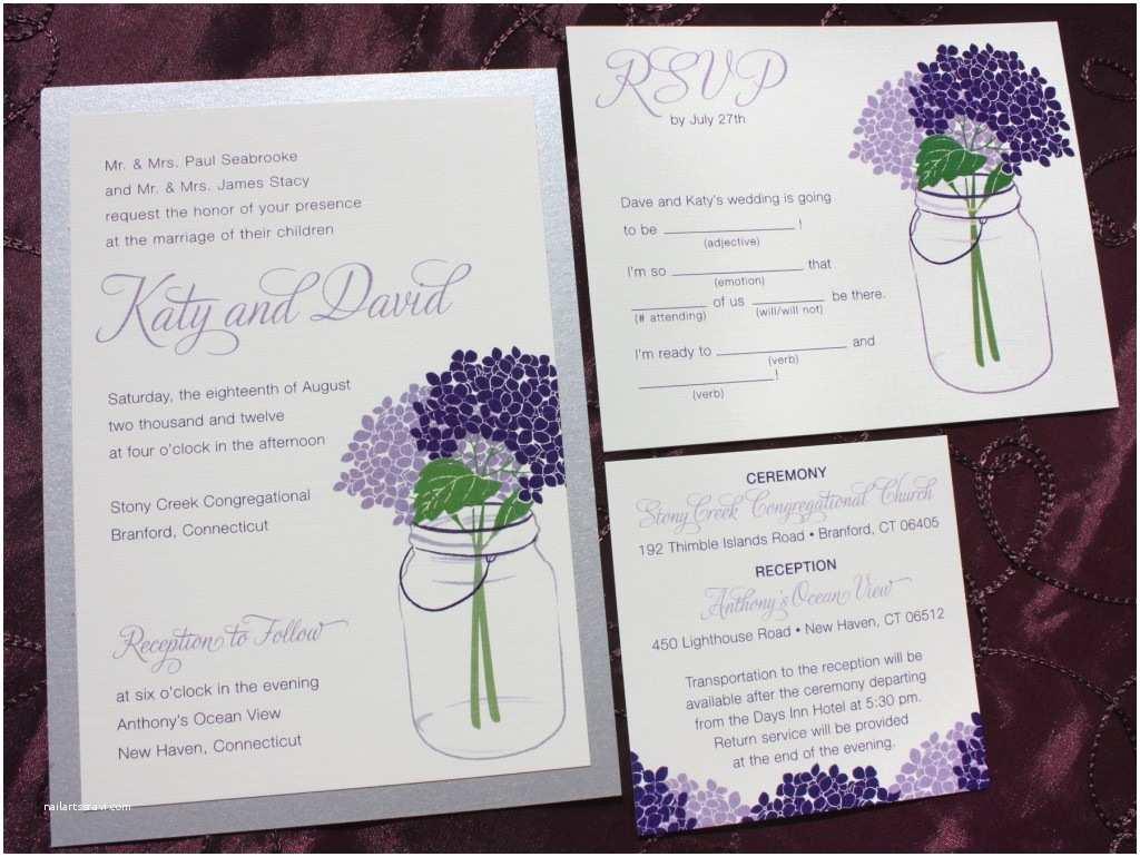 Lavender  Invitations Lapis & Lavender Purple Hydrangeas In A Mason Jar