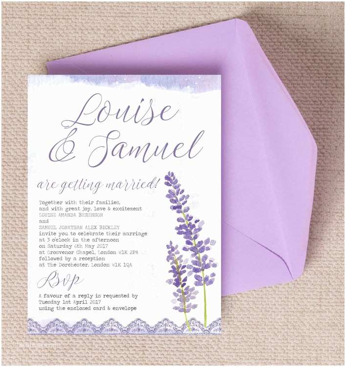 Lavender Wedding Invitations Lilac & Lavender Wedding Invitation From £1 00