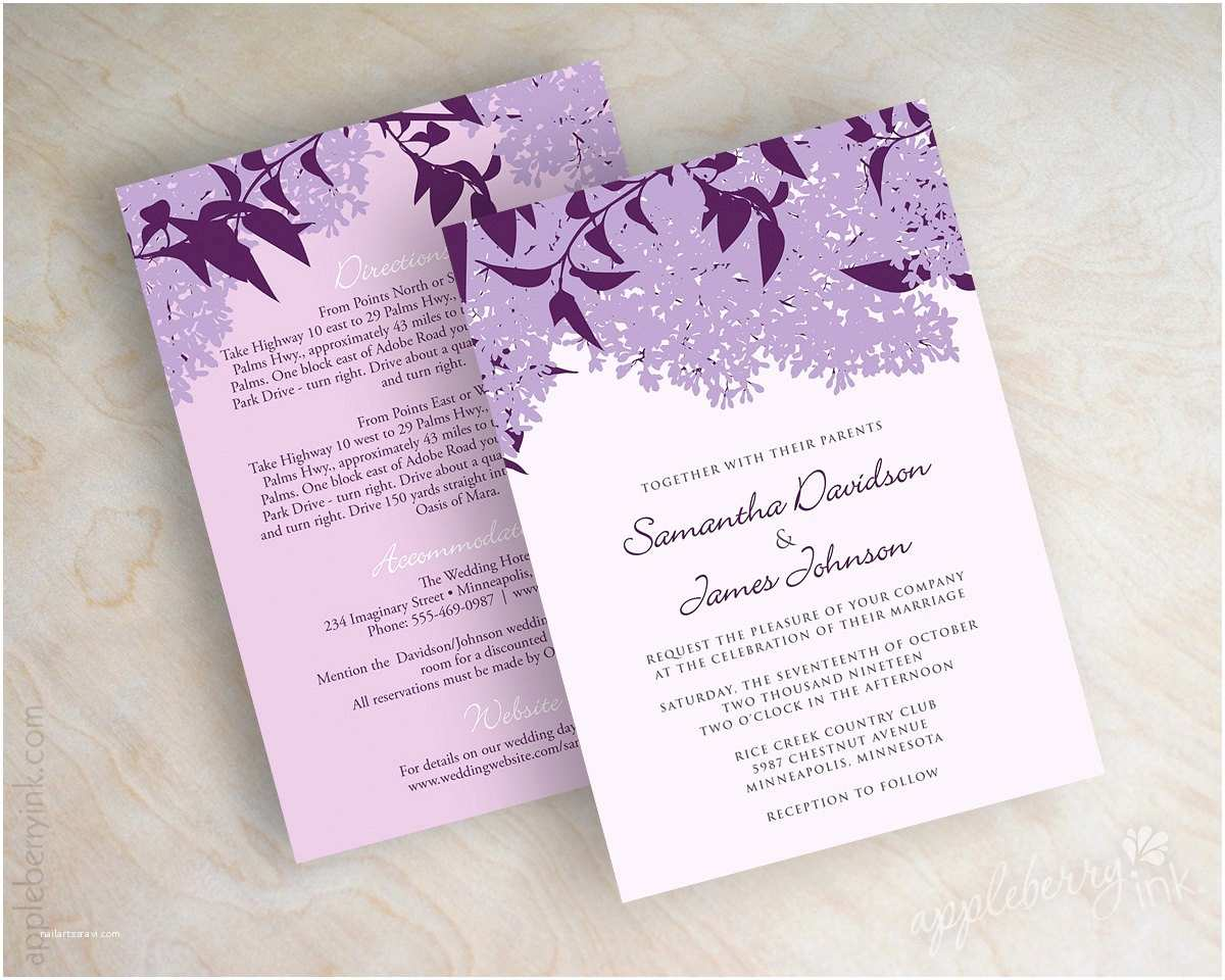Lavender Wedding Invitations Lilac Wedding Invitations Lilac Wedding Stationery Purple