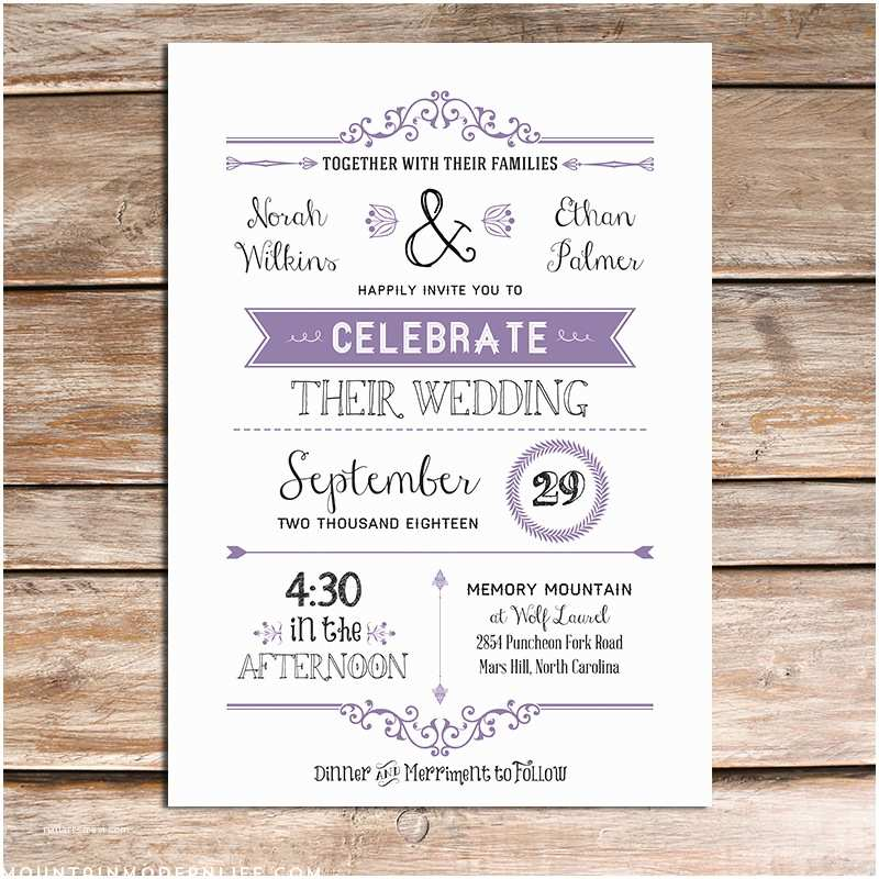 Lavender Wedding Invitations Printable Lavender Diy Wedding Invitation