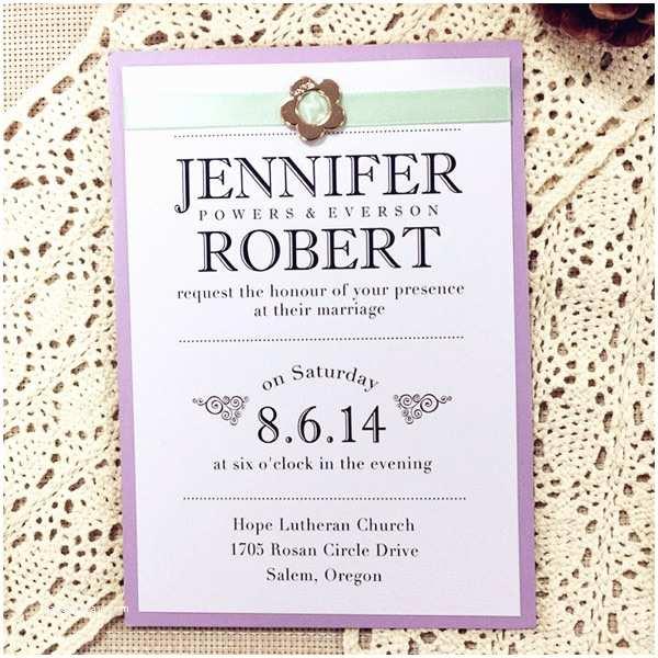Lavender Wedding Invitations Romantic Mint Green Ribbon Gold Buckle Lilac Layered