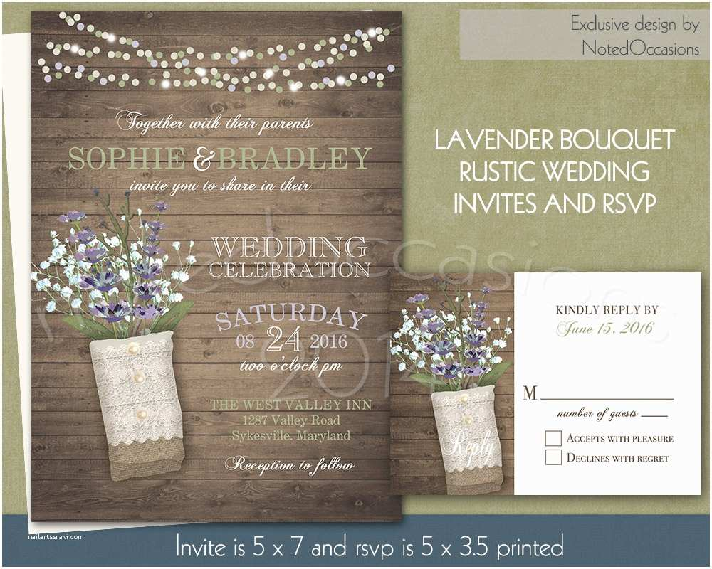 Lavender Wedding Invitations Rustic Wedding Invitation with Lavender Bouquet by