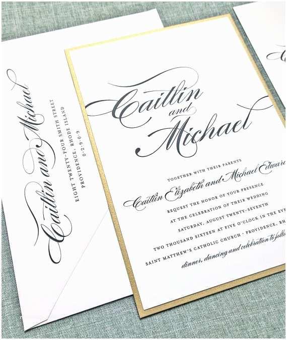 Layered Wedding S Caitlin Script Metallic Gold Layered Wedding