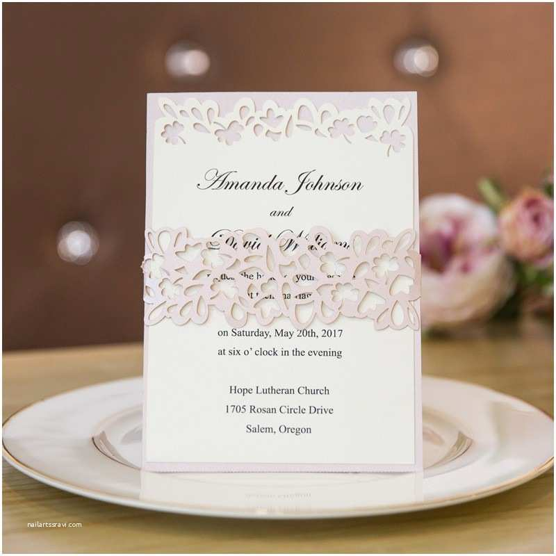 Layered Wedding Invitations Elegant Rustic Blush Layered Laser Cut Belly Band Wedding