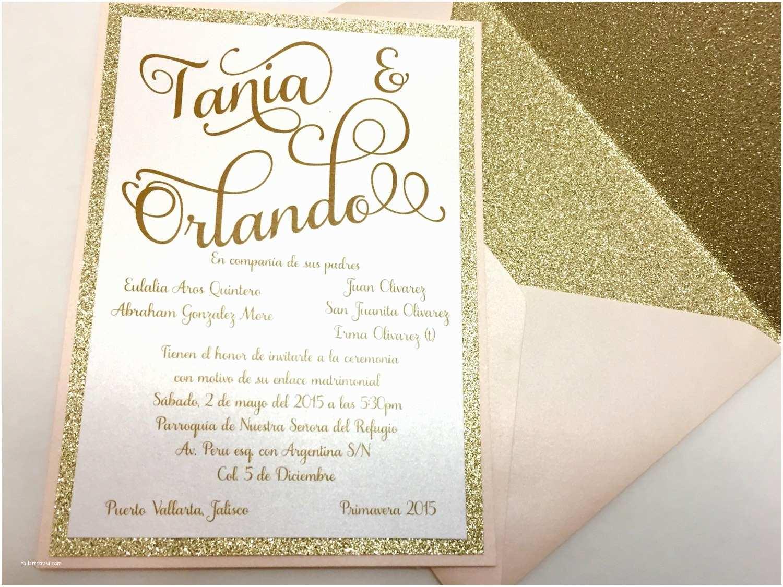 Layered Wedding Invitations Gold Glitter Wedding Invitation Layered Shimmery By