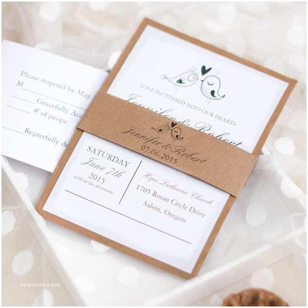 Layered Wedding Invitations Love Birds Rustic Barn Layered Wedding Invitations