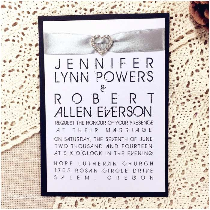 Layered  Invitations Modern White And Black Rhinestone Ribbon Layered