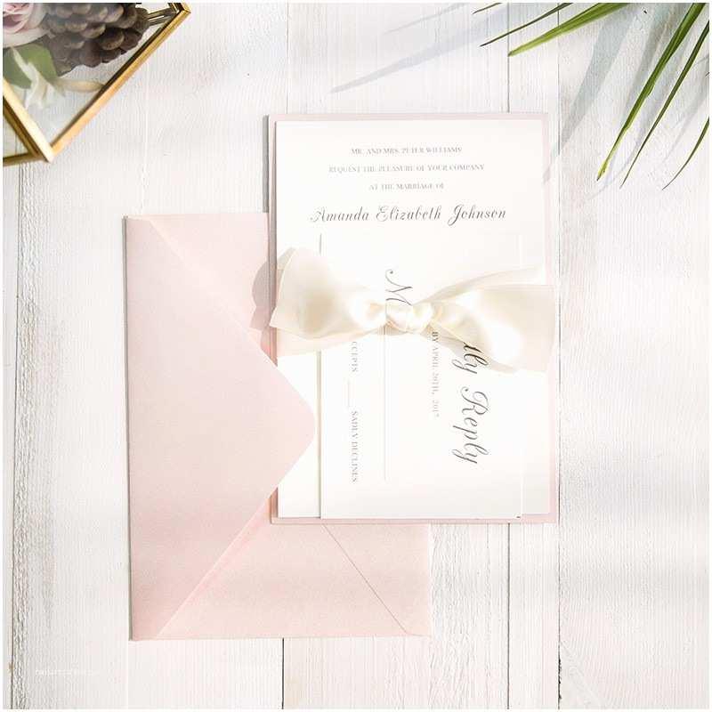 Layered Wedding Invitations Romantic Pink Layered Wedding Invitations With
