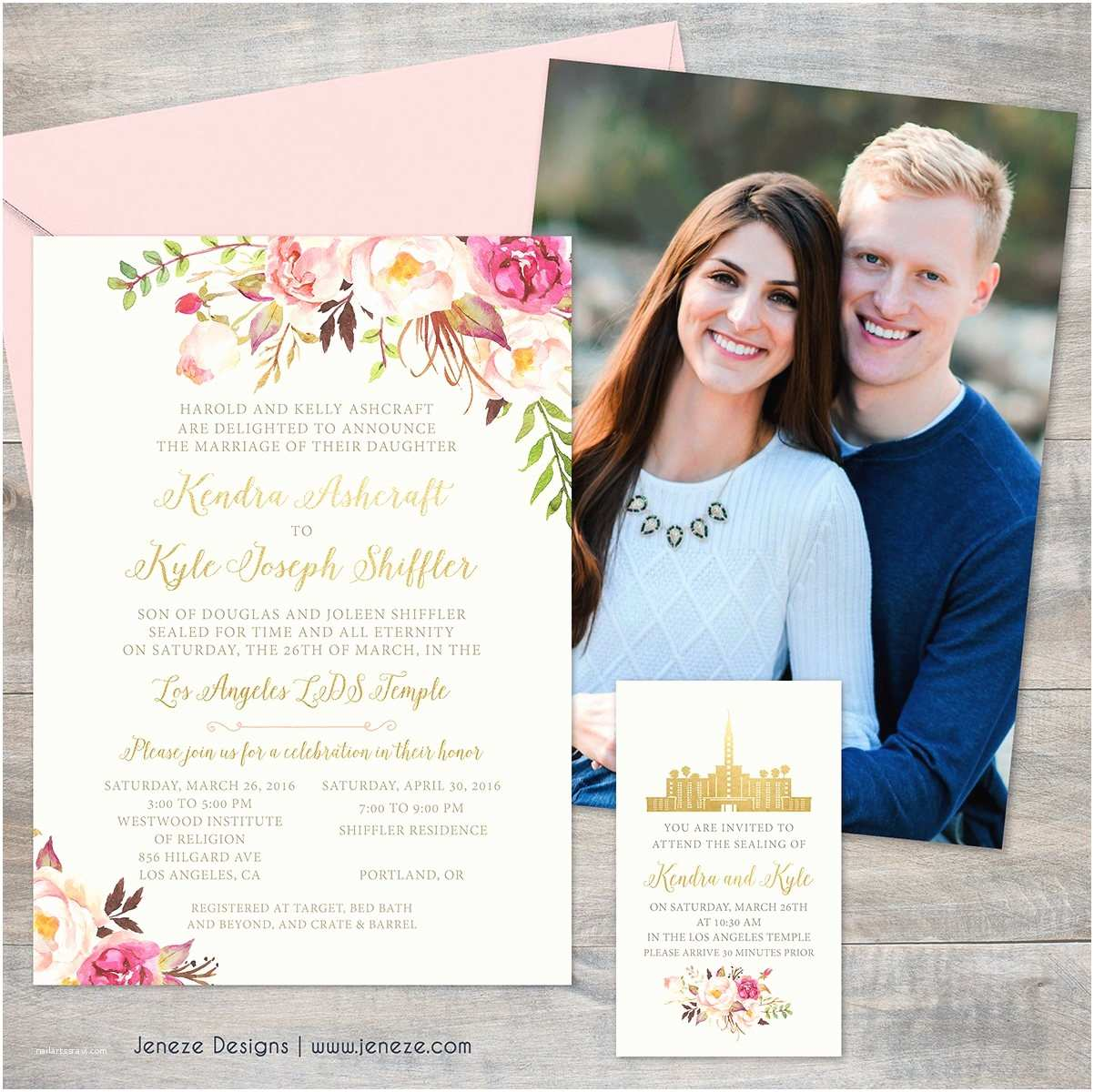 Lds Wedding Invitations Blush Pink and Gold Floral Wedding Invitation Set Lds Wedding