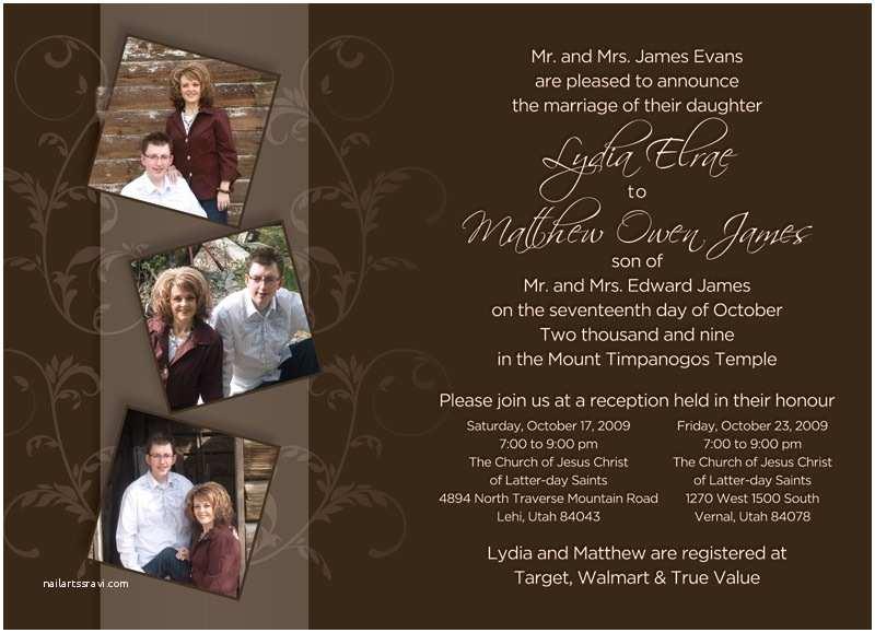 Lds Wedding Invitations Lds Wedding Invitation Wording Template Resume Builder