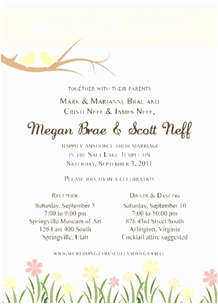 Lds Wedding Invitations Lds Wedding Invitation Wording Template Resume Builder