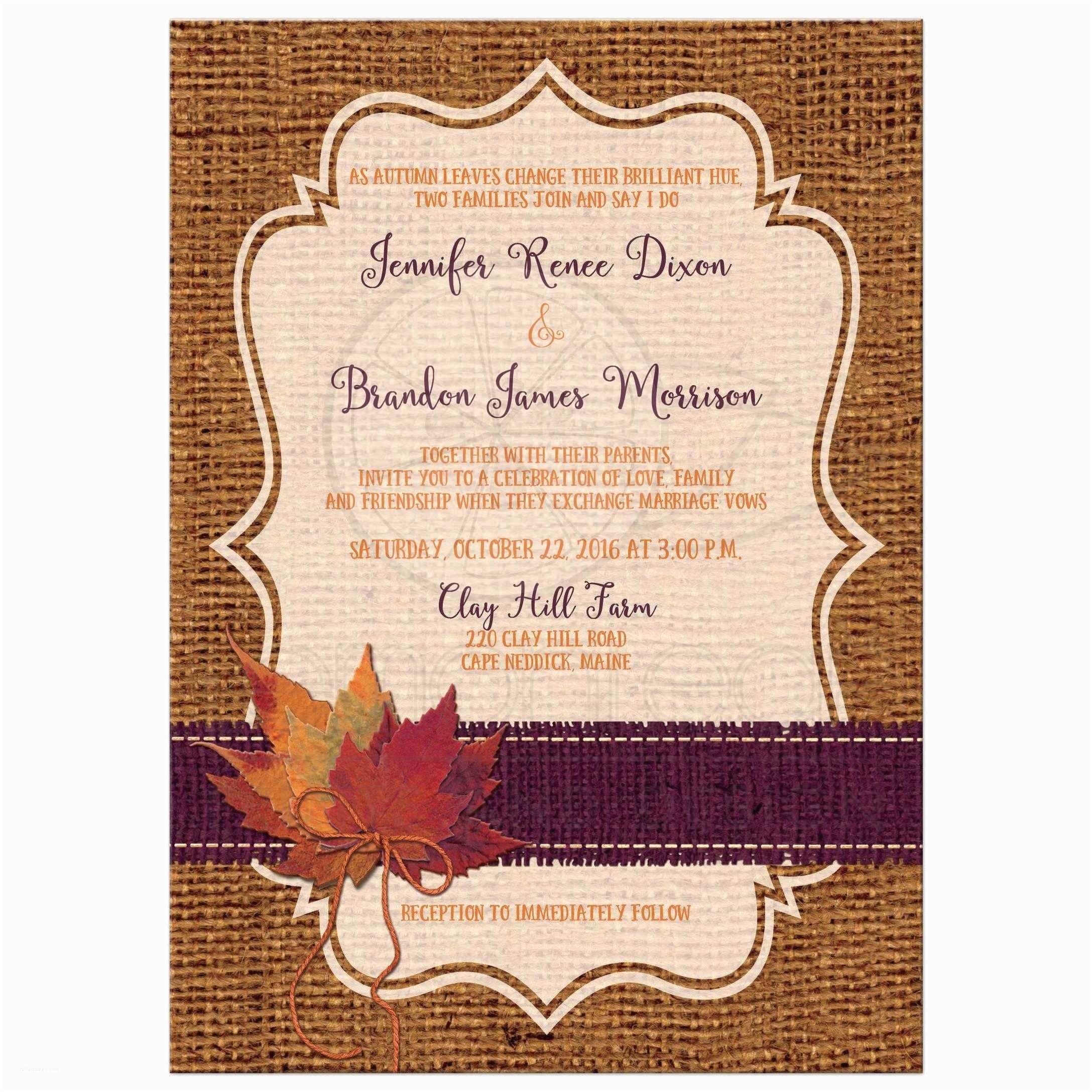 Leaf Wedding Invitations Autumn Wedding Invitation