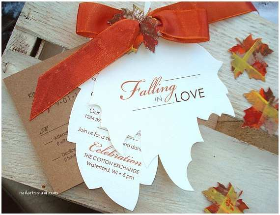 Leaf Wedding Invitations Falling In Love Hand Cut Autumn Leaf Wedding by Envymarketing