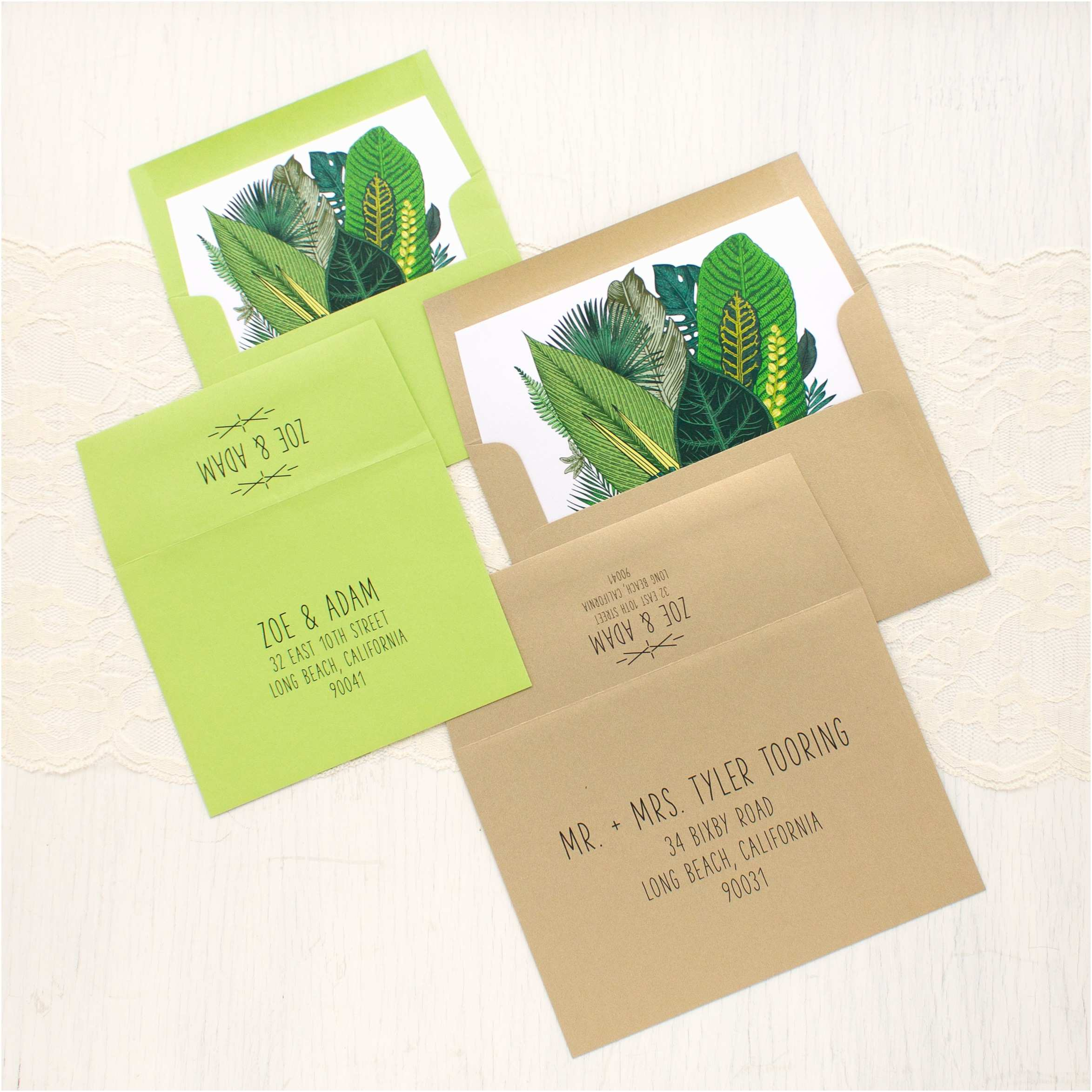 Leaf Wedding Invitations Green Leaf Wedding Invitations