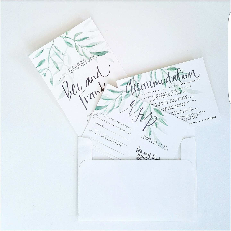 Leaf Wedding Invitations Gum Leaf Wedding Invitation