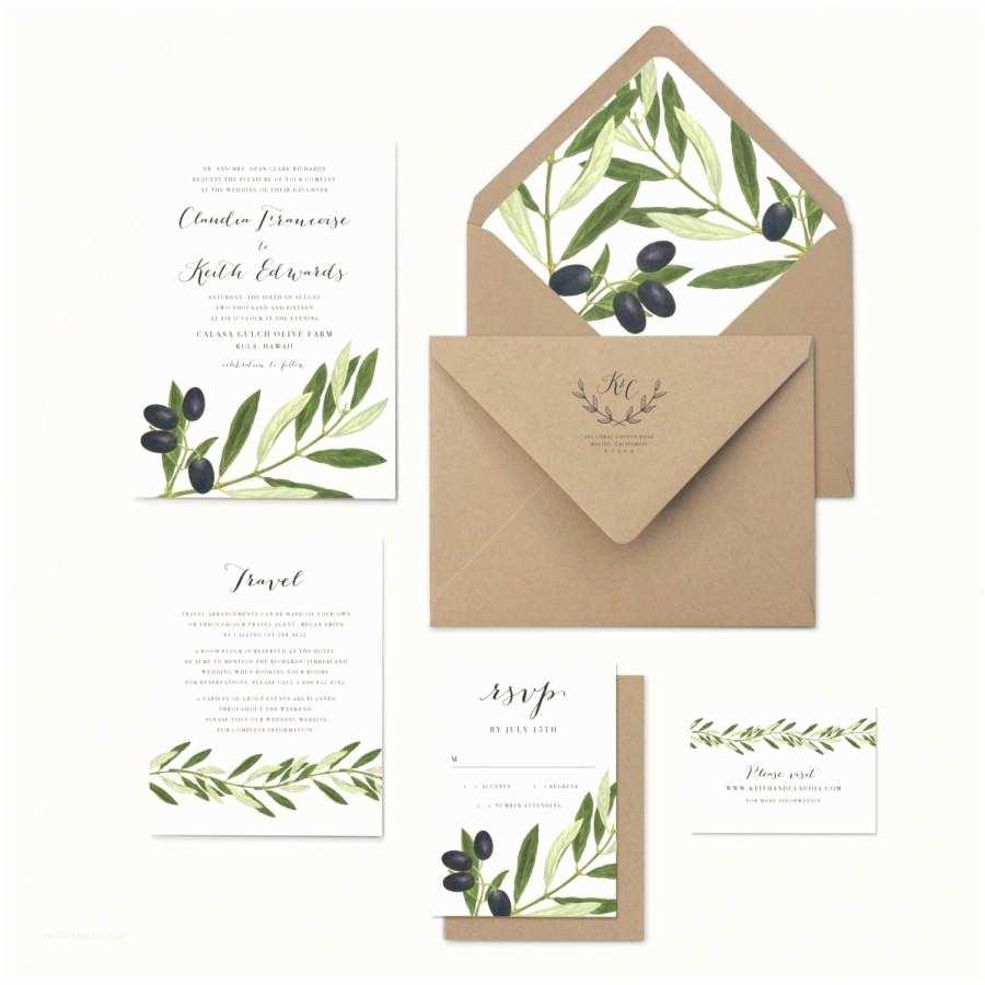 Leaf Wedding Invitations Olive Branch and Leaves Wedding Invitation Rustic Greek