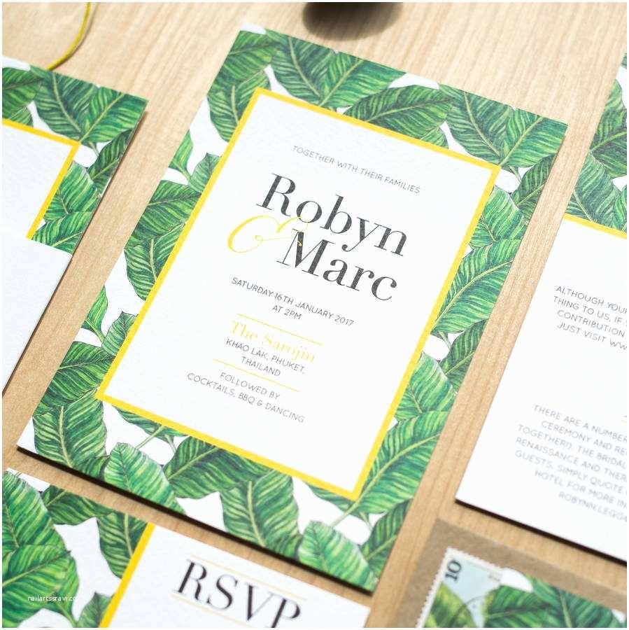 Leaf Wedding Invitations Tropical Banana Leaf Wedding Invitation by sincerely May